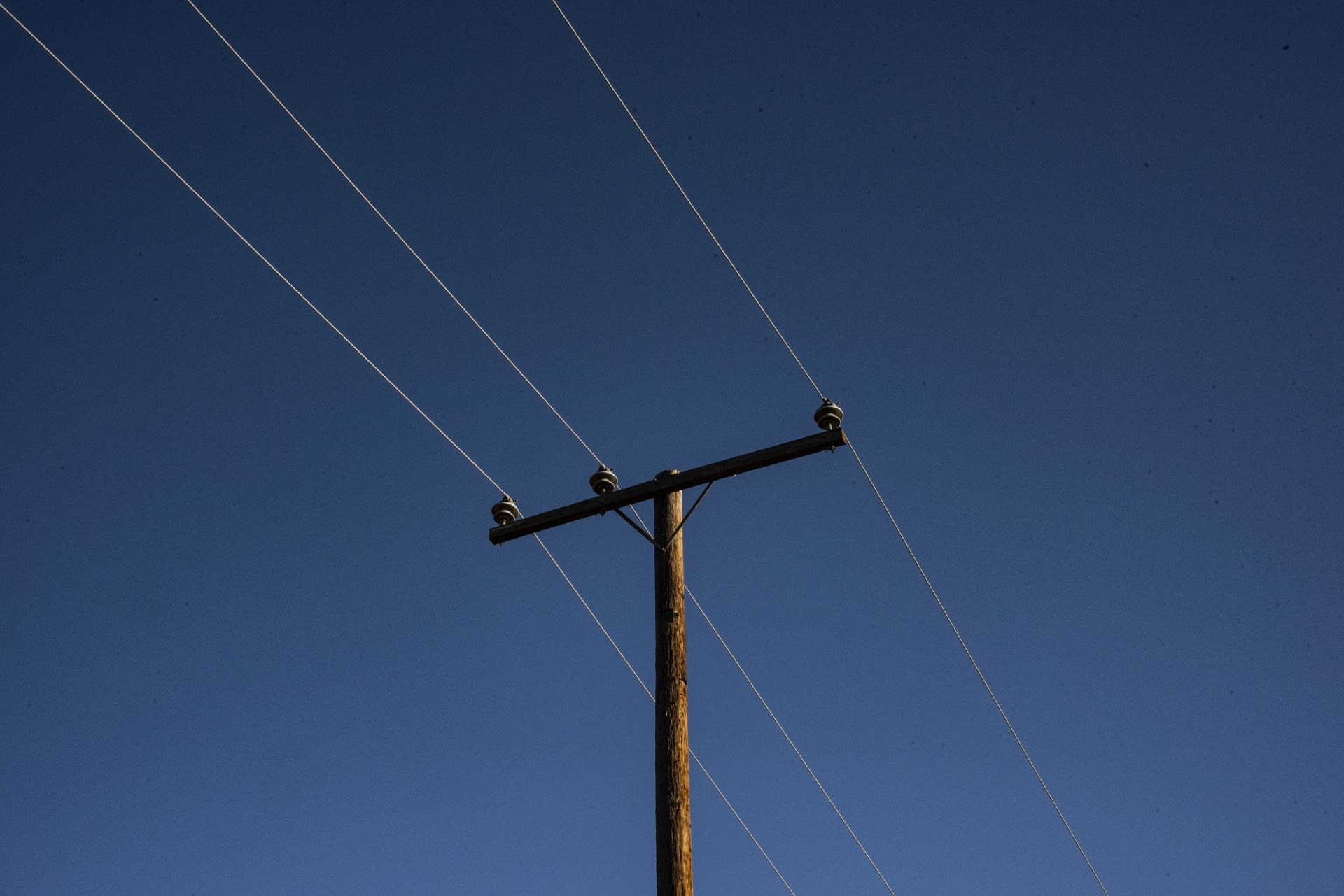 Retro Telephone Pole with Power Lines