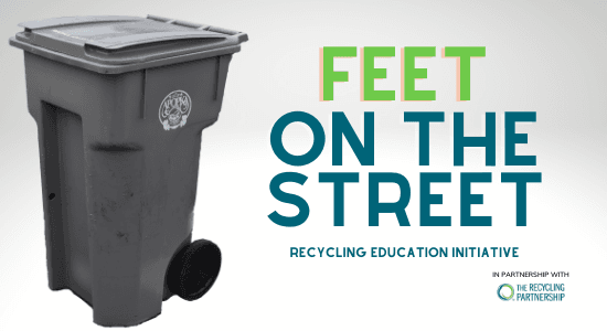 Gray Apopka Recycling Cart. The Recycling Partnership Logo. Feet on the Street Recycling Initiative